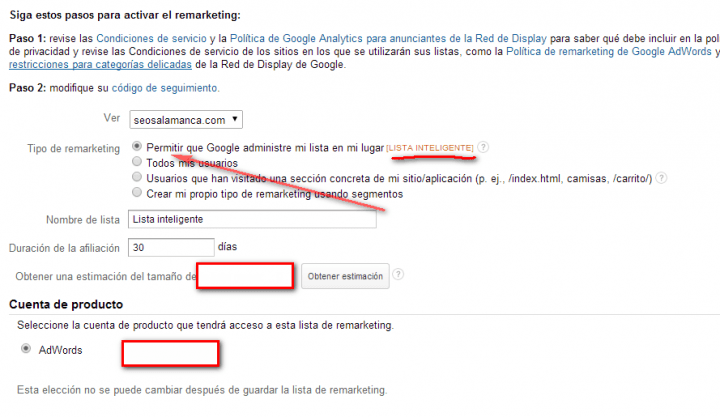 lista remarketing en analytics